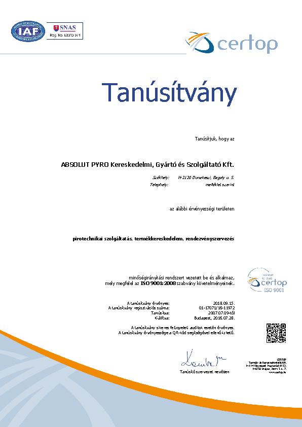 ISO9001_tanúsítvány_2016