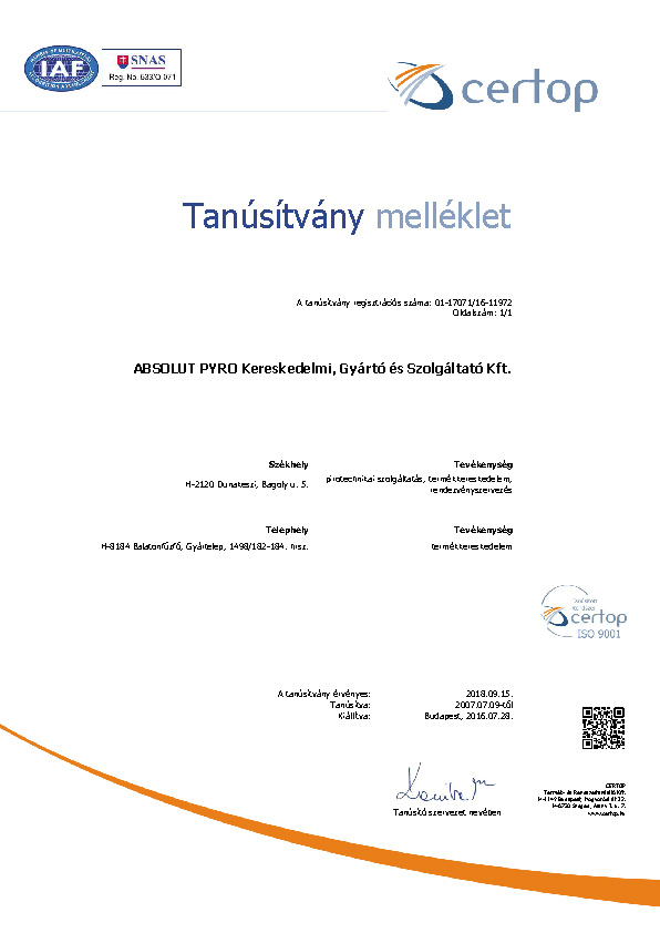 ISO9001_tanúsítvány_melléklet_2016
