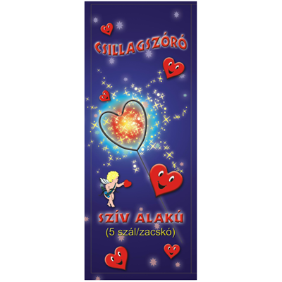 16 cm-es Csillagszóró - Szív alakú (kicsi)
