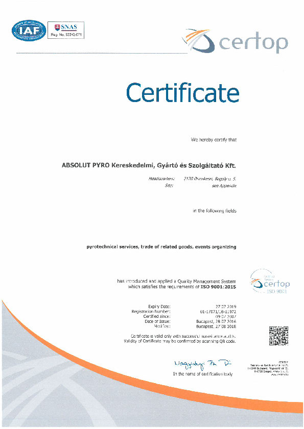 Absolut Pyro ISO 9001:2015 – 2018
