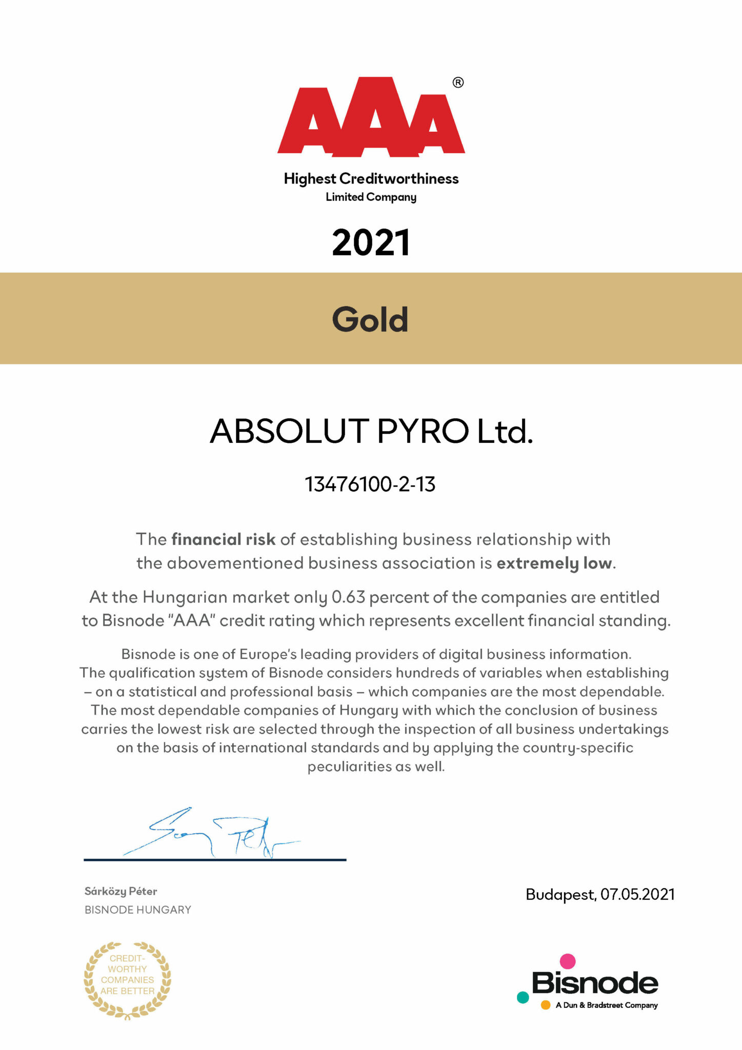 Bisnode gold certificate - Absolut Pyro Ltd. AAA creditworthy company 2021