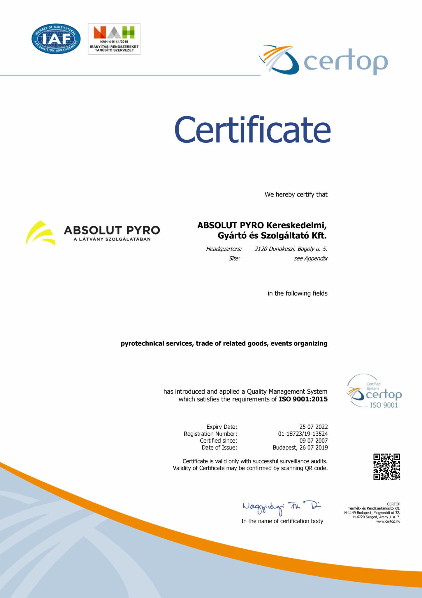 ISO 9001:2015 cetificate - Absolut Pyro Ltd. 2019